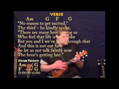 All Along The Watchtower - Soprano Uke - Am G F - Cover Lesson with TAB Lyrics