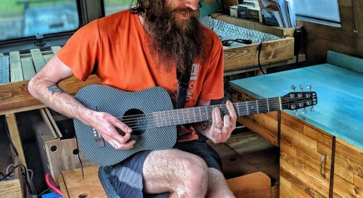 KLOS guitar in van